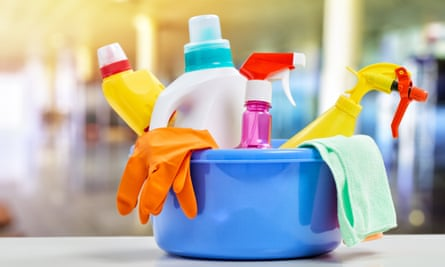 Cleaning products in a bowl