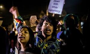 Students rally at Syracuse University on Wednesday night.