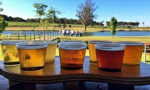 Simian sips … a flight of ales at Cheeky Monkey brewery in Wilyabrup, Western Australia.