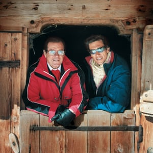 Roger and his son Geoffrey photographed at the Eagle Ski Club restaurant in Gstaad, Switzerland in April 2004 for Observer Food Monthly.