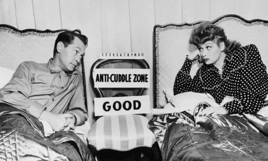 Lucille Ball and Franchot Tone in Her Husband's Affairs. In 1947 it was a strict rule of British film censors to have one foot between twin beds in scenes of married couples in bed