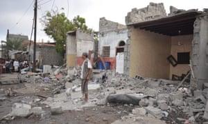 Bomb damage from a Saudi-led airstrike on Houdieda, Yemen, on 21 December.