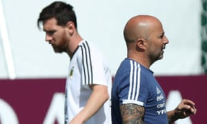 Argentina's coach Jorge Sampaoli and player Lionel Messi during training at the team's base in Bronnitsy on Monday.