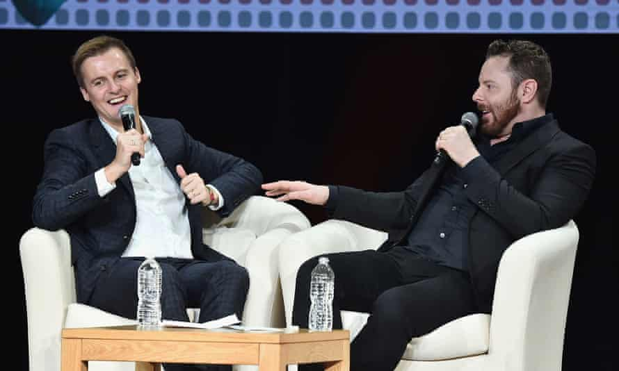 Entrepreneur and philanthropist Sean Parker, right, talks with Hugh Evans, co-founder and CEO of Global Citizen at an event in New York on Tuesday.