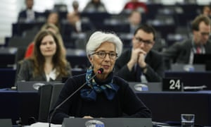 Christine Lagarde, president of the European Central Bank, speaking at the European Parliament in Strasbourg.