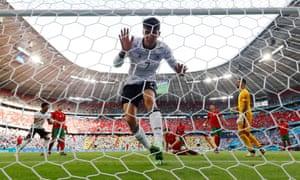 Germany's Kai Havertz celebrates after scoring their third goal.