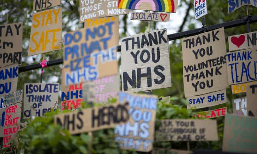 Signs in support of the NHS in London
