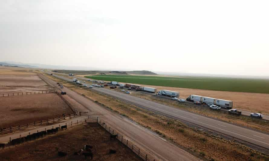 An aerial view of the multi-car pileup in Utah, in which at least seven people were killed