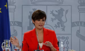 Spanish Minister of Territorial Politics and Government's spokeswoman, Isabel Rodriguez, addresses a press conference in Madrid, Spain.