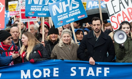 Demonstrators march for the NHS in London, Feb 2018