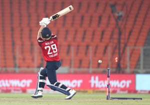Dawid Malan of England is bowled by Shardul Thakur.