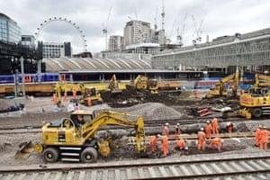 Engineering work at Waterloo Station in London.