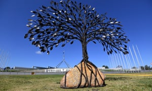 memorial tree sculpture outside parliament house
