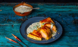 Salmon in puff pastry with a champagne sauce from English Seafood Cookery by Rick Stein