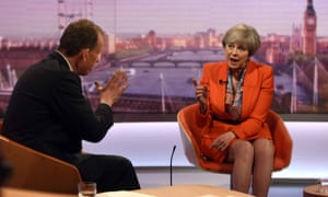 Theresa May appearing on The Andrew Marr Show in April.