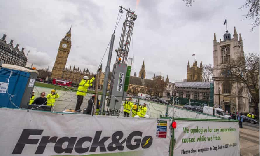 Greenpeace's 10m high fracking rig outside the Houses of Parliament