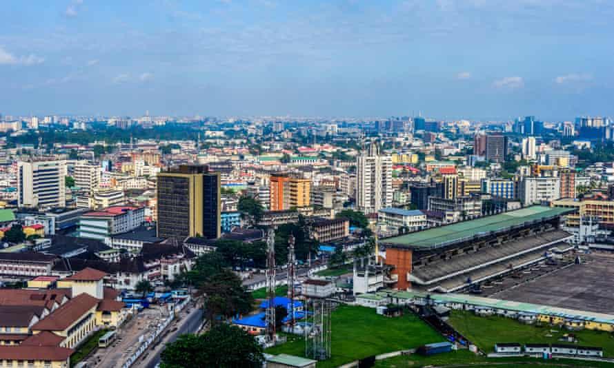 An aerial view of Lagos Island, Nigeria