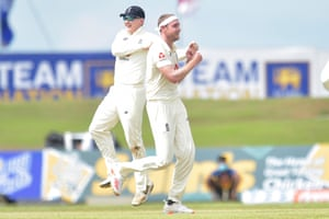 Stuart Broad celebrates removing Kusal Mendis.