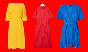 Poor pink … from left: Titania sunshine dress, Kitri, £125; drawstring signal red jumpsuit, COS, £79; ruffle wrap dress, Topshop, £46.