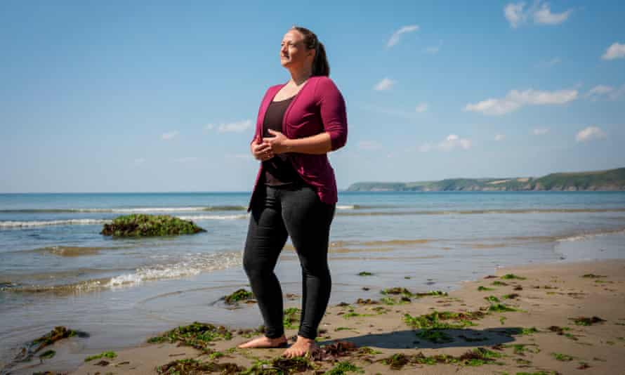 Open-water swimmer Lucy Hatfield at Caerhays on Roseland, Cornwall