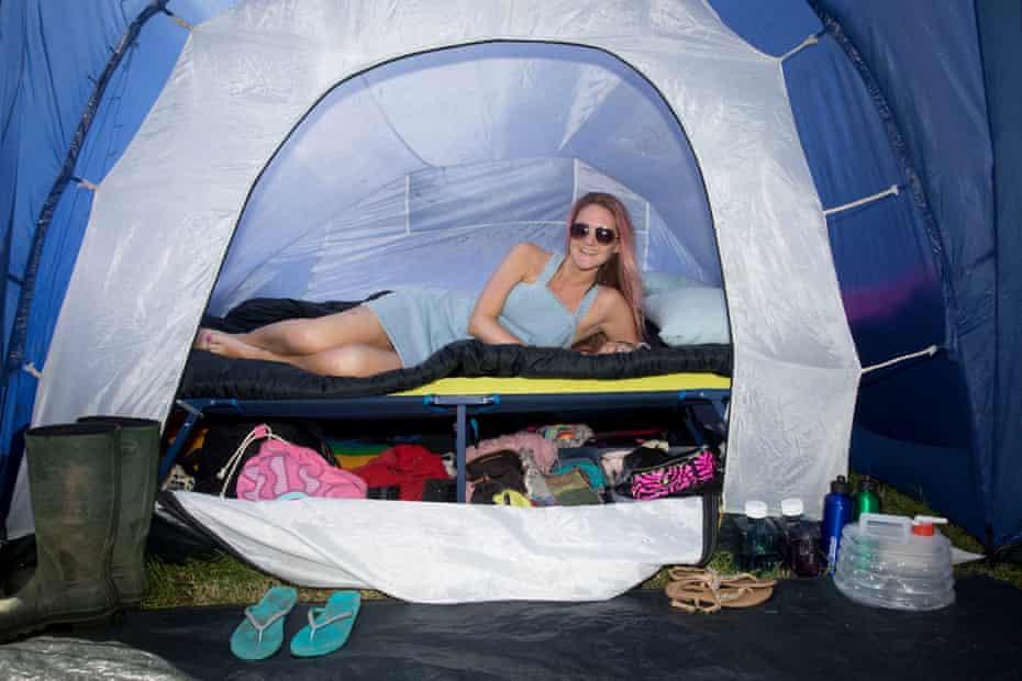 Zoe Jones shows off her tent organising system.