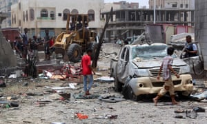 The car-bombing site at an army recruitment centre in the southern Yemeni city of Aden.