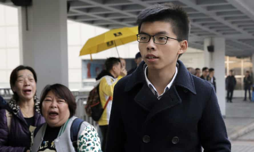 Joshua Wong arrives at the high court in Hong Kong earlier this month