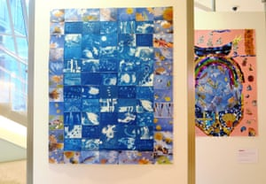 collage in blue colours