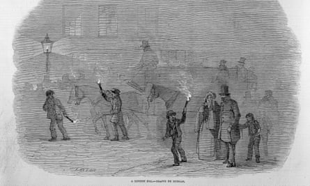 black and white illustration showing foggy street scene; two men with burning torches lead a horse and carriage, while in the foreground a small boy with a torch leads a family group.