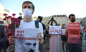 Protesters in Krakow, Poland, demonstrate in support of Belarusians challenging the re-election of Alexander Lukashenko as president.