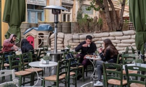 A Greek Cypriot street cafe next to the buffer zone and close to the Ledra Palace Hotel in central Nicosia.