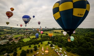 The Bristol International Balloon Fiesta 2016Hot air balloons fly over the Ashton Court Estate after taking off in a mass ascent