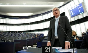 Jean-Claude Juncker, president of the European commission, addressing the European parliament in Strasbourg this morning.