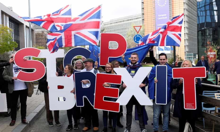 An anti-Brexit protest outside the EU leaders summit in Brussels, October 2019.