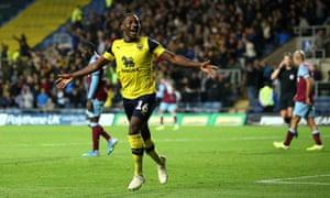 Oxford United's Shandon Baptiste celebrates scoring his side's fourth goal.