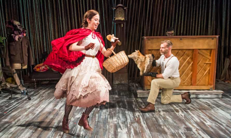 Emily Young as Little Red Riding Hood and Noah Brody as Wolf in Into the Woods at Menier Chocolate Factory, London.