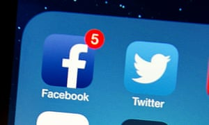 facebook and twitter on an iphone