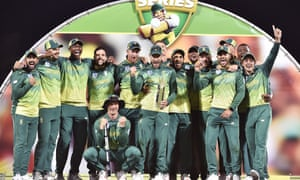 South Africa players celebrate their series win in Hobart.