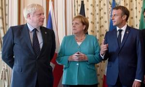 Prime Minister Boris Johnson (left) with German Chancellor Angela Merkel and French President Emmanuel Macron
