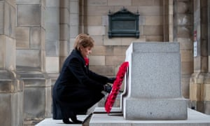 Nicola Sturgeon lays a wreath at the Stone of Remembrance at the City Chambers in Edinburgh