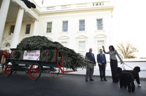 2015 - US First Lady Michelle Obama welcomes the Official White House Christmas Tree to the White House in Washington.