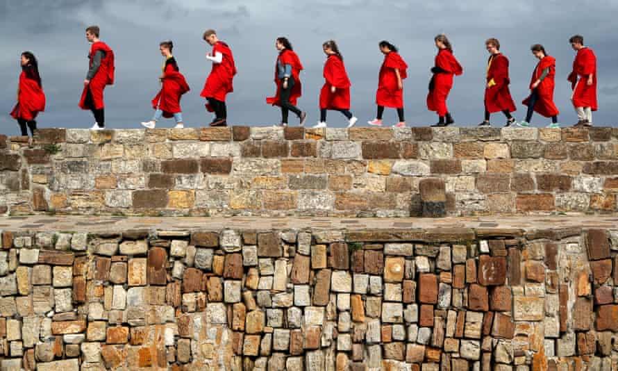 Undergraduate students on the St Andrews University 'pier walk'.