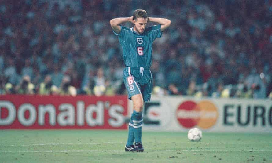 Gareth Southgate reacts after missing his penalty to give Germany victory in the Euro 96 semi-final.