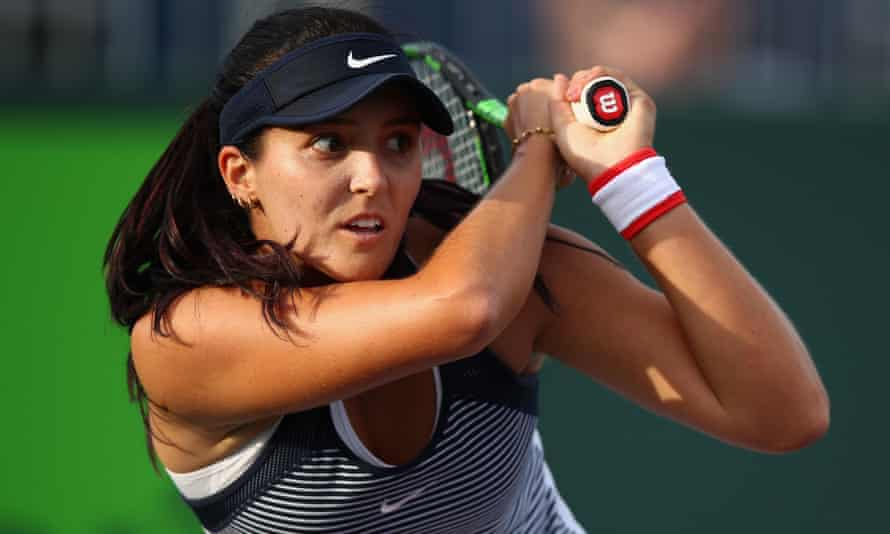 Laura Robson hits a forehand on her way to a 7-6, 6-2 defeat to Belgium's world No65 Kirsten Flipkens.