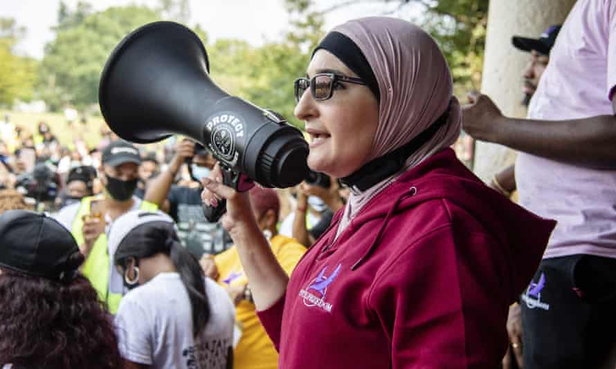 Linda Sarsour speaks at the Good Trouble Tuesday march for Breonna Taylor