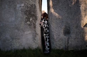 Squeezed between megaliths at Stonehenge