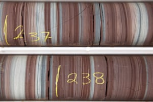 Drilled core samples used to determine the viability of shale gas extraction.