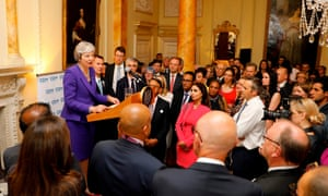 Theresa May speaks to assembled guests as she hosts a reception to mark the 70th anniversary of the NHS at 10 Downing Street.