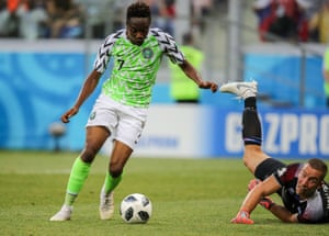 Ahmed Musa goes round Iceland's goalkeeper Hannes Halldorsson before scoring his second goal in Nigeria's 2-0 win, their only victory at the 2018 World Cup.