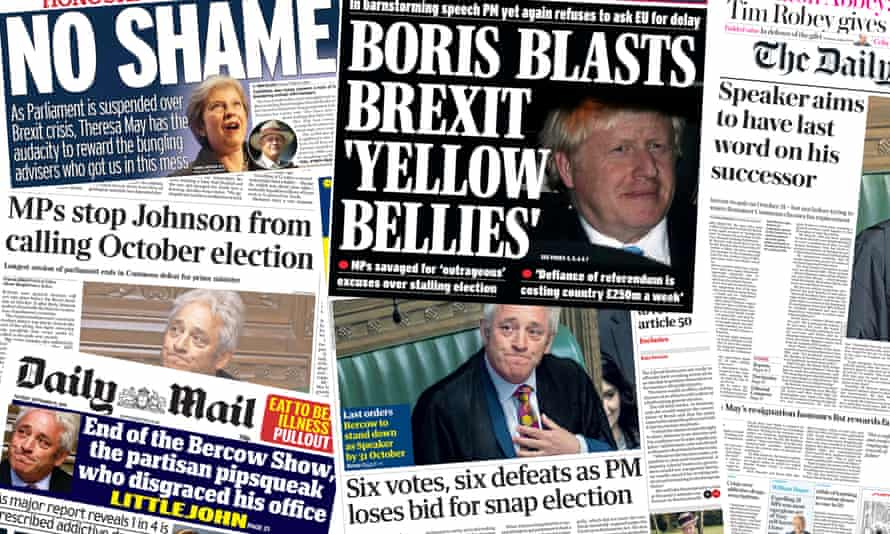 The UK newspaper front pages were all about Brexit after the prorogation of the parliament.